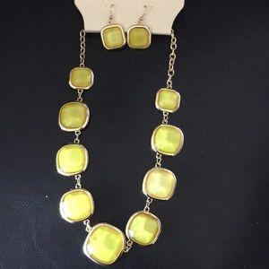 New Badgley Mischka Lemon Lime Necklace Set earrin